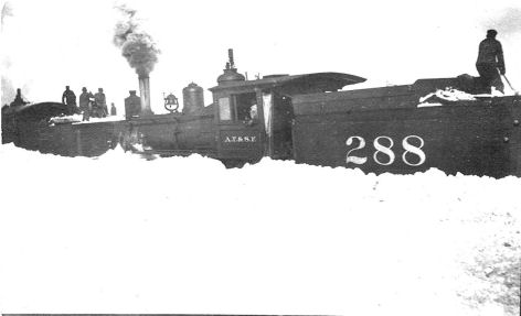 Picture of train stuck in the snow