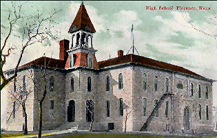 Old High School postcard picture